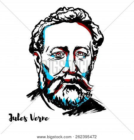 Jules Verne Engraved Vector Portrait With Ink Contours. French Novelist, Poet, And Playwright.