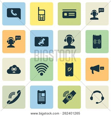 Connection Icons Set With Tablet Connection, Horn, Greeting Male Operator And Other Telephone Elemen