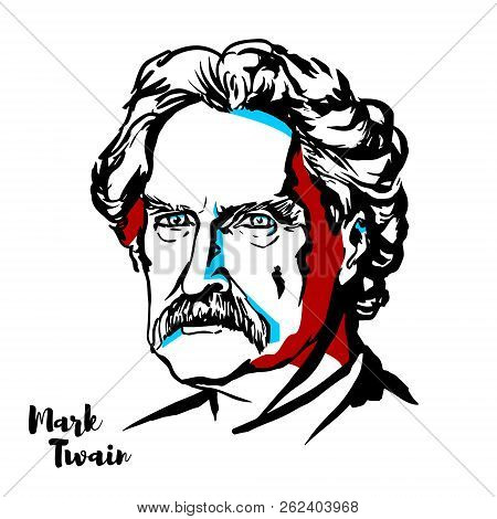 Moscow, Russia - August 21, 2018: Mark Twain Engraved Vector Portrait With Ink Contours.  American W