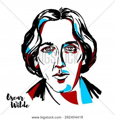 Moscow, Russia - August 21, 2018: Oscar Wilde Engraved Vector Portrait With Ink Contours. Irish Poet