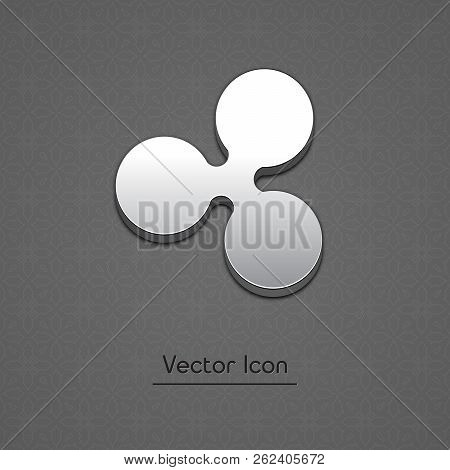 Ripple Coin Symbol Isolated Web Vector Icon. Ripple Coin Trendy 3d Style Vector Icon. Raised Symbol