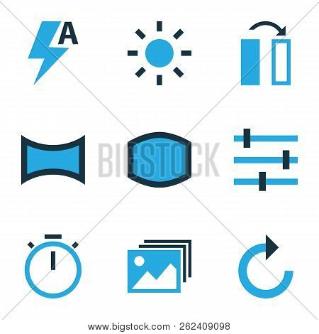 Image Icons Colored Set With Timer, Panorama, Automatic And Other Image Elements. Isolated  Illustra