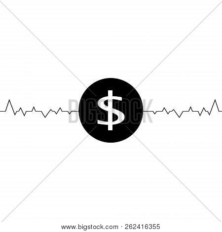Vector Illustration Of Dollar One Line Drawing, Minimalism Art. Fluctuation In The Exchange Rate Of