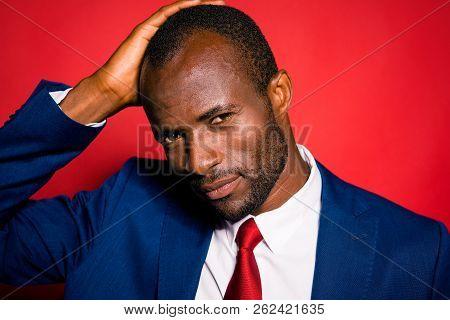 Barber Shop Concept. Close Up Portrait Of Attractive Nice Good-looking Imposing Elegant Handsome Man