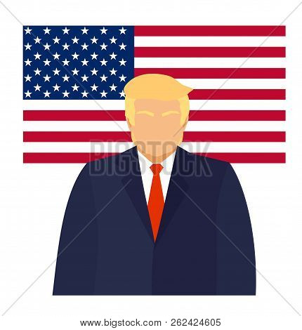September 20, 2017. Donald Trump President Of America At The Podium Gives A Speech. Cartoon Characte
