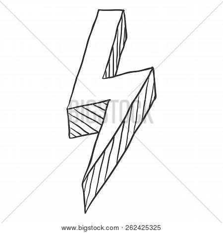 Vector Black Sketch Thunderbolt Symbol On White Background