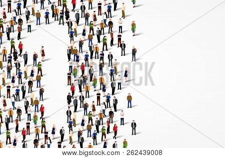 Large Group Of People In Number 1 One Form. Vector Background