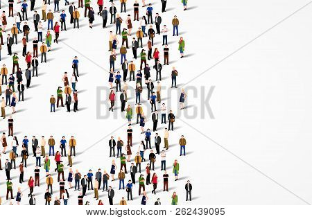 Large Group Of People In Number 4 Four Form. Vector Background
