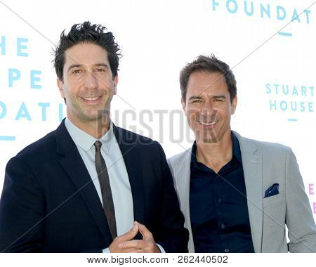 LOS ANGELES - OCT 7:  David Schwimmer, Eric McCormack at the Rape Foundation Annual Brunch at the Private Residence on October 7, 2018 in Beverly Hills, CA