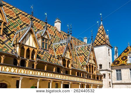 Architecture Of The Historic Hospices Of Beaune In Burgundy, France