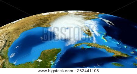 Extremely Detailed And Realistic High Resolution 3d Image Of A Hurricane. Shot From Space. Elements
