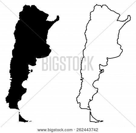 Simple (only Sharp Corners) Map Of Argentina (argentine Republic) Vector Drawing. Mercator Projectio
