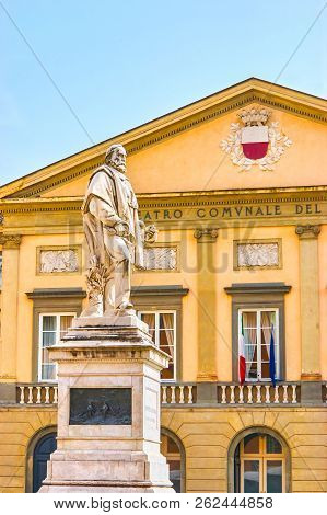 The Marble Statue To Giuseppe Garibaldi In Piazza Del Giglio With Frontage Of Opera Theater On The B