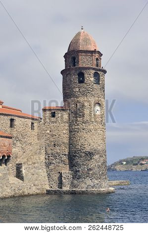 The Tower Of The Royal Castle Of Collioure On The Old Port