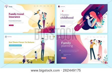 Set Of Web Page Design Templates For Family Planning, Travel Insurance, Nature And Healthy Life. Mod