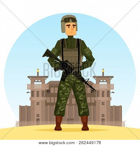 Army Soldier With M16 Gun Near Fort Or Prison