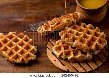 Honey Waffle Put On White Plate, Honey Waffle Put On Wooden Table, Delicious Honey Waffle