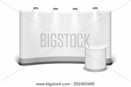 Trade Exhibition Stand Mock Up Isolated On White Background. White Creative Exhibition Stand Design