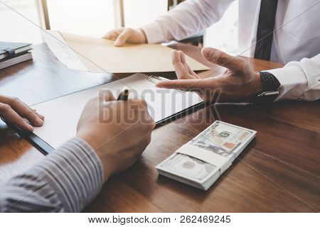 Business Signing A Contract Buy - Sell House, Man Sign A Home Insurance Policy On Home Loans, Insura