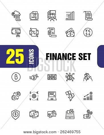 Finance Icons. Set Of Line Icons. Bitcoin, Currency, Payment. Finance Concept. Vector Illustration C