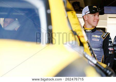 October 05, 2018 - Dover, Delaware, USA: John Hunter Nemechek (42) hangs out in the garage during practice for the Bar Harbor 200 at Dover International Speedway in Dover, Delaware.