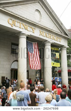 Entertainment in Quincy Market in downtown Boston on the Freedom Trail