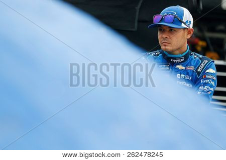 October 05, 2018 - Dover, Delaware, USA: Kyle Larson (42) hangs out in the garage during practice for the Gander Outdoors 400 at Dover International Speedway in Dover, Delaware.
