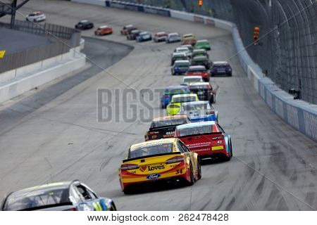 October 07, 2018 - Dover, Delaware, USA: Darrell Wallace, Jr (43) races through the field off turn two at  the Gander Outdoors 400 at Dover International Speedway in Dover, Delaware.