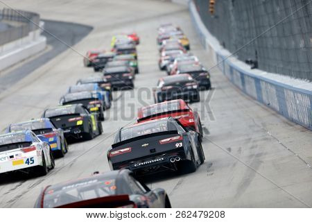 October 06, 2018 - Dover, Delaware, USA: Jeff Green (93)  races through the field off the back stretch at the Bar Harbor 200 at Dover International Speedway in Dover, Delaware.