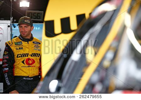 October 05, 2018 - Dover, Delaware, USA: Matt DiBenedetto (32) hangs out in the garage during practice for the Gander Outdoors 400 at Dover International Speedway in Dover, Delaware.