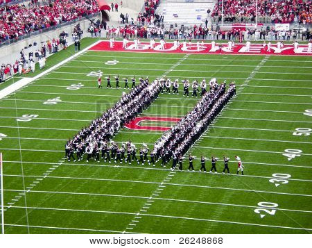 COLUMBUS, OHIO-November 10, 2007: Ohio State Buckeyes marching band plays at pre-game