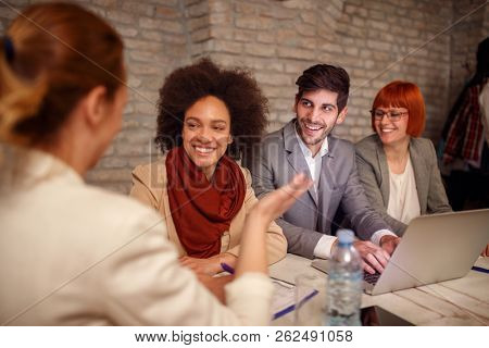 leader women with employer discuss on meeting