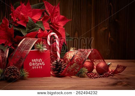 Christmas decoration with Red Poinsettia flowers (Euphorbia Pulcherrima), fir cones and branch, red balls  on wooden background.  Merry Christmas. Greeting card. Christmas background with copy space.