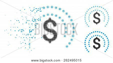 Financial Sphere Shield Icon In Disappearing, Pixelated Halftone And Undamaged Entire Versions. Elem