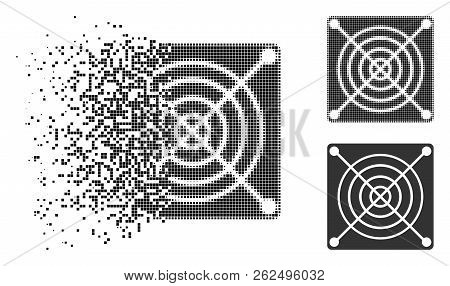 Mining Asic Hardware Icon In Dissipating, Dotted Halftone And Undamaged Solid Versions. Points Are O