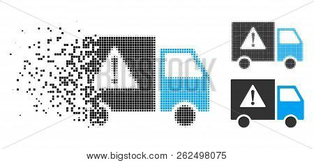 Danger Transport Truck Icon In Dispersed, Pixelated Halftone And Undamaged Solid Variants. Elements