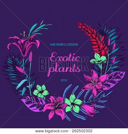 Floral Wreath Of Exotic Plants Hand Drawn Vector Illustation