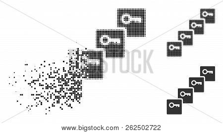 Key Blockchain Icon In Disappearing, Pixelated Halftone And Undamaged Whole Variants. Pixels Are Arr