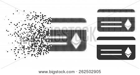 Ethereum Banking Card Icon In Dissolving, Dotted Halftone And Undamaged Whole Versions. Pixels Are A