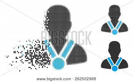 Champion Icon In Fractured, Pixelated Halftone And Undamaged Entire Variants. Pieces Are Composed In
