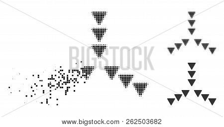 Inside direction icon in dissipating, dotted halftone and undamaged entire variants. Fragments are combined into vector disappearing inside direction icon. poster