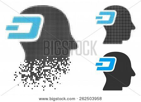 Dash Imagination Icon In Fractured, Pixelated Halftone And Undamaged Solid Variants. Particles Are C