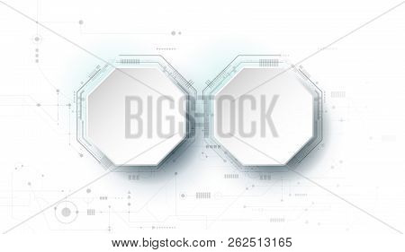Vector Design 3d Paper Circle With Circuit Board. Illustration Abstract Modern Futuristic, Engineeri