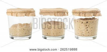 Process of fermentation of homemade rye bread sourdough isolated on white background. Active rye starter for bread. Healthy eating concept. poster