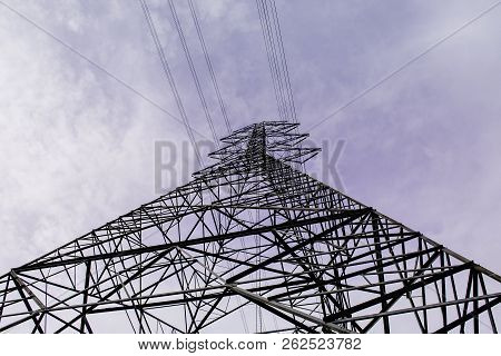Electricity Pole With Space For Create Your Text, Transmission Line Of Electricity To Rural, High Vo