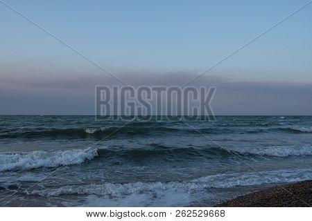 Ocean Coast With Waves. Sunset On The Ocean. Beautiful Seascape Autumn. Background From The Sea, Oce