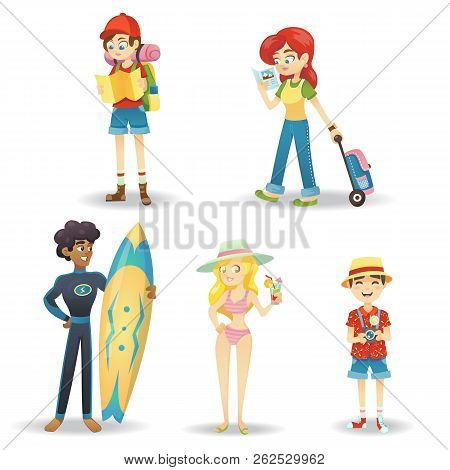 Traveling Cartoon Character. Happy World Travel Set Of People On Vacation Leisure And Recreation