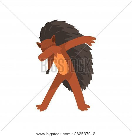 Cute Hedgehog Standing In Dub Dancing Pose, Cartoon Animal Doing Dubbing Vector Illustration On A Wh