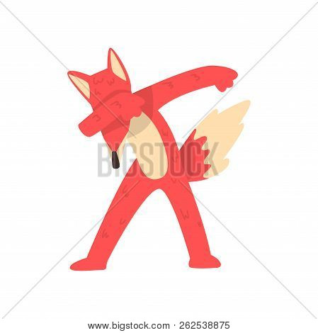 Cute Red Fox Standing In Dub Dancing Pose, Cartoon Animal Doing Dubbing Vector Illustration On A Whi