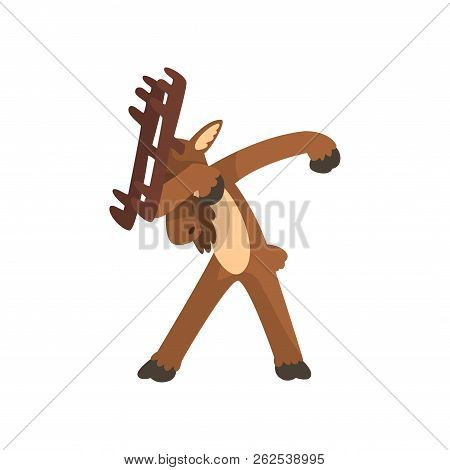 Moose Standing In Dub Dancing Pose, Cute Cartoon Animal Doing Dubbing Vector Illustration On A White